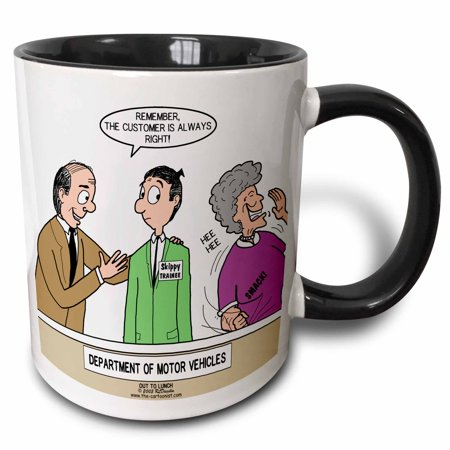 3dRose Department of Motor Vehicles Employee Training - Two Tone Black Mug,