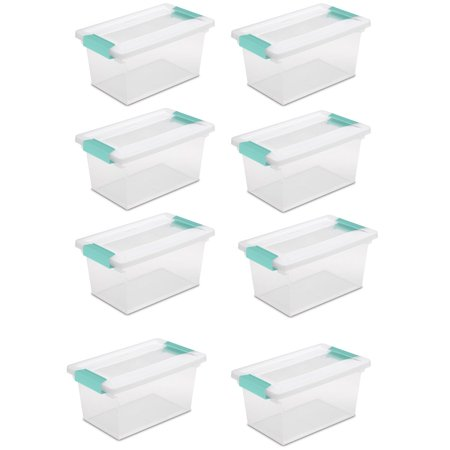 New Sterilite Medium Clip Box Clear Storage Tote Container with Lid (8 Pack)](Clear Storage Bins)