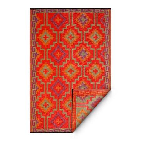 Fab Habitat Lhasa Indoor/Outdoor Rug, Orange & Violet, (4' x 6')