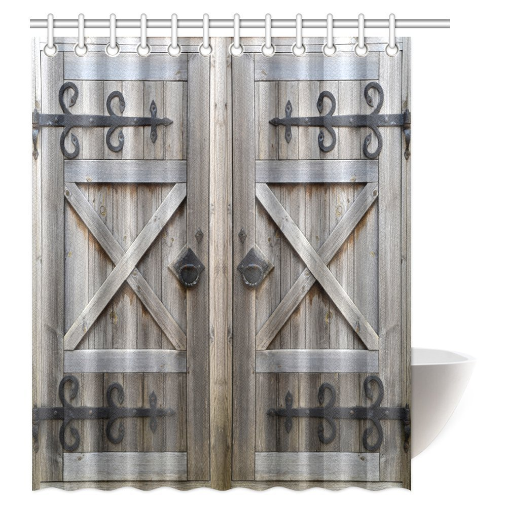 MYPOP Old Wooden Door Shower Curtain, American Style Retro Country Barn Wood Door Pattern, Vintage Rustic Theme Polyester Fabric Shower Curtain 60 X 72 Inches, Brown Grey