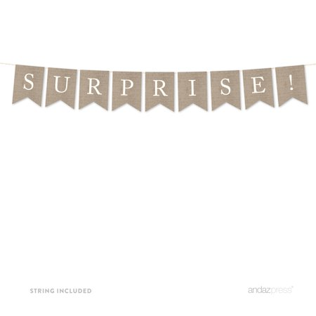 Surprise! Burlap Pennant Party Banner - Surprise Banner
