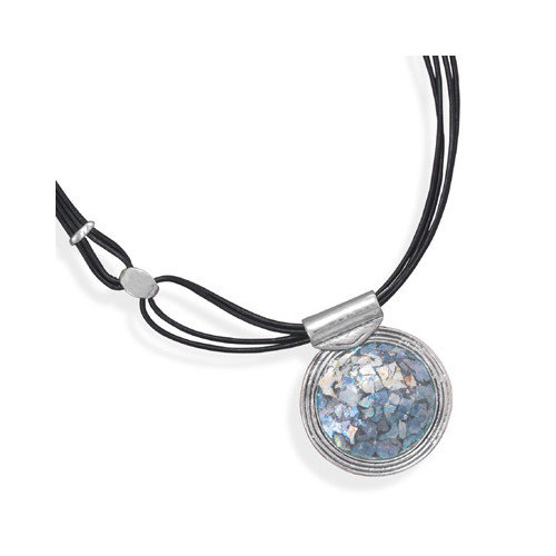 Jewelryweb Sterling Silver 18 InchMultistrand Leather With Roman Glass Necklace