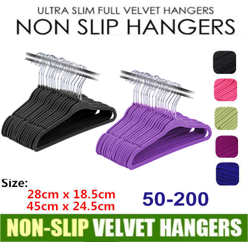 50-200 Pcs Black / Purple Velvet Non-Slip Thin Clothes Clothing Hangers Space Saving Closet Storage Helper Household