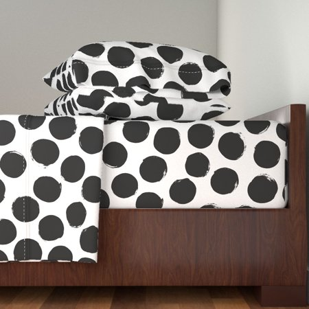 Polka Dots Black White Huge Polka Dot 100% Cotton Sateen Sheet Set by Roostery