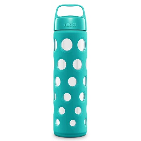Pure BPA-Free Glass Water Bottle with Lid, Blue Tide Fizz, 20
