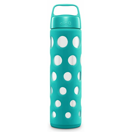 Pure BPA-Free Glass Water Bottle with Lid, Blue Tide Fizz, 20 oz
