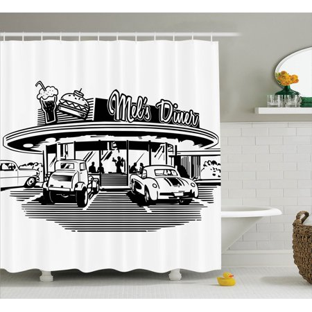 1950S Decor Shower Curtain Set, Nostalgic Illustration Of Retro Diner Restaurant With Vintage Cars Back Then In Fifties, Bathroom Accessories, 69W X 70L Inches, By - 1950s Diner Decor