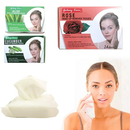 3Pk Make Up Remover Deep Cleansing Wipes 72 Tissue Pad Cloth Face Eye Towelettes