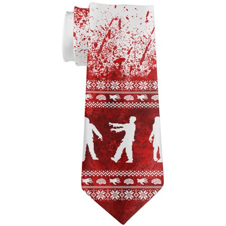 Ugly Christmas Sweater Bloody Zombie Attack Survivor All Over Neck (Halloween's Over Time For Christmas)