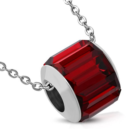 Stainless Steel Silver-Tone Red CZ Round Bead Pendant Necklace, 17