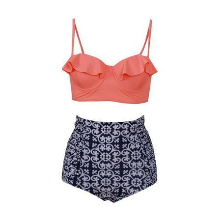 2018 Various styles , Plus Size Swimwear Women High Waisted / One-Piece Floral Bikini Set Push Up Padded Bra Swimsuit Bathing Suit, Sexy Bikini ,Beachwear