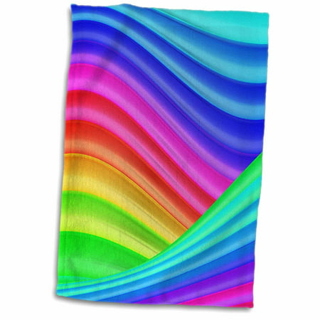 Bright Aqua Apparel - 3dRose Bright Wavy Colors In Aqua, Blue, Pink, Yellow, and Green - Towel, 15 by 22-inch