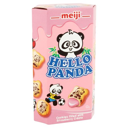 (6 Pack) Meiji Hello Panda Cookies, Strawberry CrÃÂème, 2.1 Oz