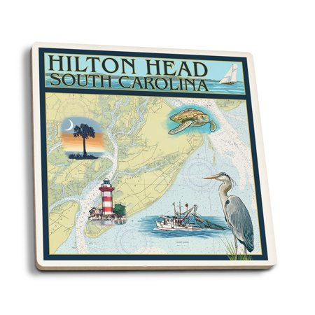 Hilton Head, South Carolina - Nautical Chart - Lantern Press Artwork (Set of 4 Ceramic Coasters - Cork-backed, Absorbent) ()