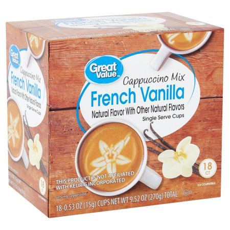 Great Value French Vanilla Cappuccino Mix Coffee Pods, Medium Roast, 18 - Style Cappuccino Cups