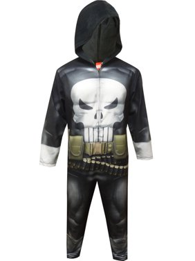 Briefly Stated Men's Marvel Comics The Punisher One Piece Union Suit Hooded Pajama