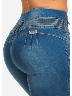 9c1bd3f4152 Product Image Womens Juniors Blue Light Wash Butt Lifting Push Up 4 Button  Closure Colombian Design Stretchy Skinny