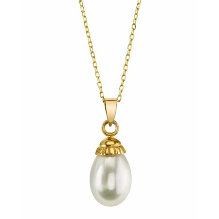 - 14K 9mm Drop Shaped White Freshwater Cultured Pearl Devon Pendant Necklace