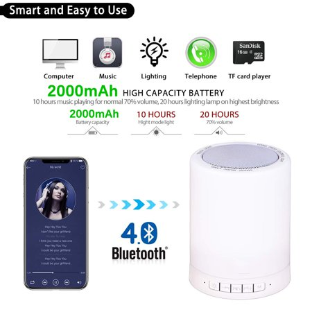 Night Light Bluetooth Speaker, Portable Wireless Bluetooth Speakers with Touch Control 7 Color LED Table Light and Speakerphone/TF Card/AUX-in Supported - image 6 of 13