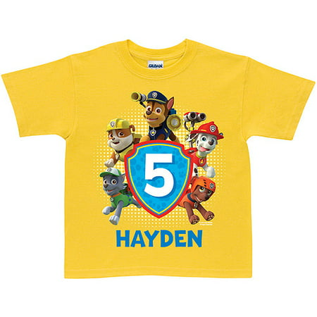 Personalized Paw Patrol Pawesome Birthday Yellow Boys T Shirt