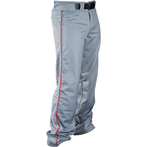 Louisville Slugger Men's Slugger Heavy-Warp Knit Boot-Cut American Pants, Gray/Red Piping