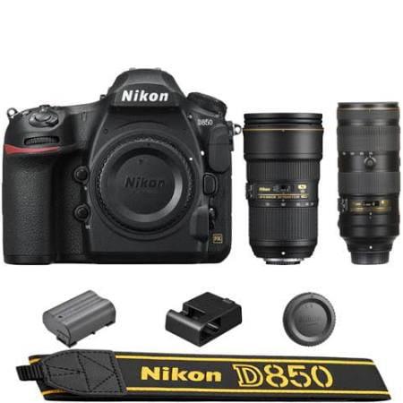 Nikon D850 DSLR Camera + 24-70mm f 2.8E ED VR + 70-200mm f 2.8E FL ED VR Lens by Nikon