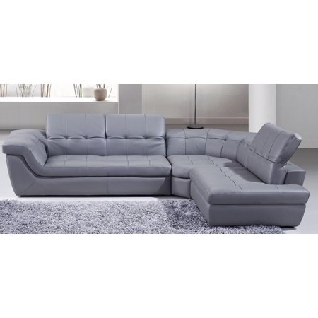 J&M 397 Modern Grey Italian Leather Sectional Sofa Adjustable Headrests Left