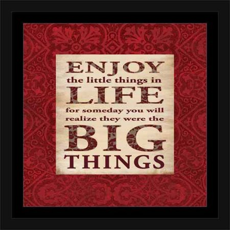 Big Things Abstract Floral Pattern Inspirational Typography Red & Tan, Framed Canvas Art by Pied Piper Creative (Framed Inspirational Art)