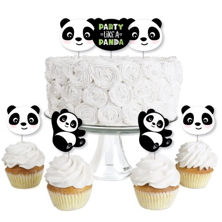 Party Like a Panda Bear - Dessert Cupcake Toppers - Baby Shower or Birthday Party Clear Treat Picks - Set of 24](Panda Bear Party Supplies)