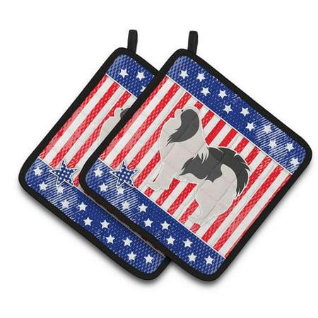 USA Patriotic Japanese Chin Pair of Pot Holders - image 1 de 1