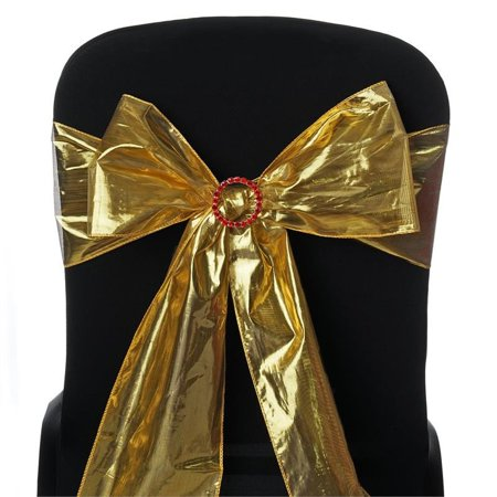 BalsaCircle 5 pcs Shiny Metallic Tissue Lame Chair Sashes Bows Ties - Wedding Party Ceremony Reception Event Decorations Unique](Wedding Reception Decoration)