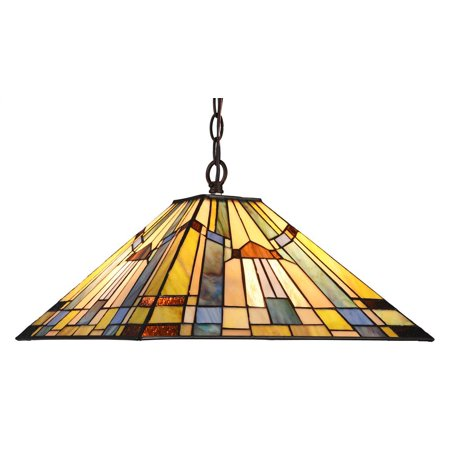 "CHLOE Lighting KINSEY Tiffany-style 2 Light Mission Hanging Pendant Fixture 16"" Shade"