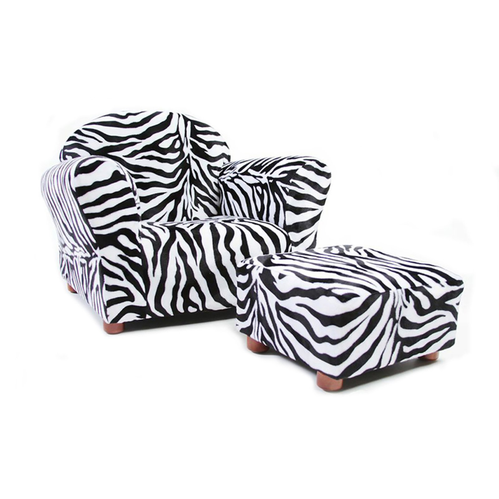 KEET Roundy Kids Chair Zebra with Ottoman