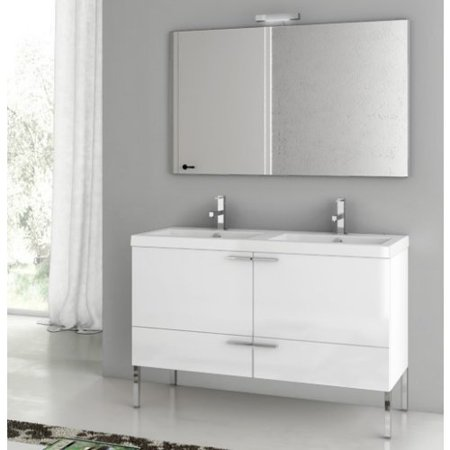 ACF by Nameeks ACF ANS07-GW New Space 47-in. Double Bathroom Vanity Set - Glossy White