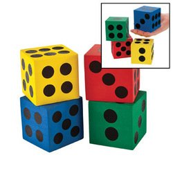 12 Dice - Game/Play Foam Jumbo Playing Dice (12) Kid/Child by Toys-n-Games By ToysnGames