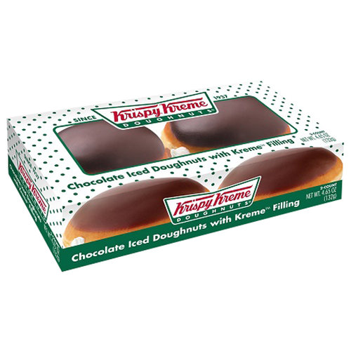 Krispy Kreme Chocolate Iced Doughnuts with Kreme Filling, 2 count, 4.65 oz