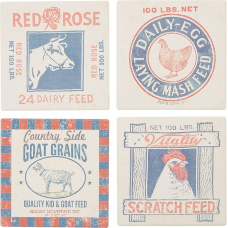 Farm Coasters (Farmhouse Feed Snack Prints Chicken Rooster Cow Drink Absorbent Coasters )