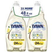 Dawn Pure Essentials Liquid Dish Soap, Lemon Essence, 2x24 fl oz