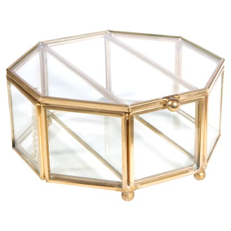Home Details Vintage Copper Medium Octagon Glass Brass Metal Jewelry Box 5.1X5.1X2.4 Inch W/Top Lid ()