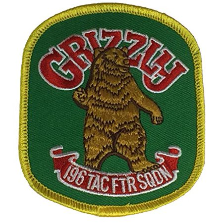 196TH TACTICAL FIGHTING SQUADRON THE GRIZZLY Unit Patch - Color - Veteran Owned - Grizzlies Colors