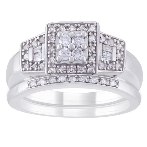 Always and Forever 1/3 Carat T.W. Diamond Sterling Silver and Platinum Bridal Ring Set