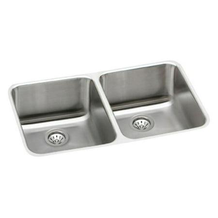 Elkay ELUH311810 Gourmet Lustertone Stainless Steel Double Bowl Undermount Sink