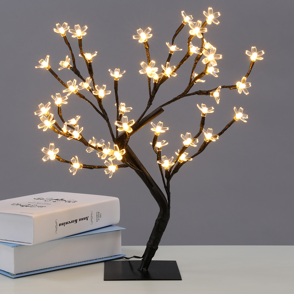 EXCELVAN 45CM LED FLORAL CHERRY BLOSSOM LIGHT CHRISTMAS GARDEN TREE BRANCH DIY DESK LAMP