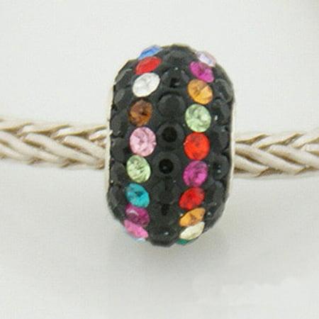 Pastel Color Rhinestone (1 Bead - Black Pastel Rainbow Stripe Stellux Rhinestone Sterling Silver Core .925 European Bead Charm ZS0563 LC0081)