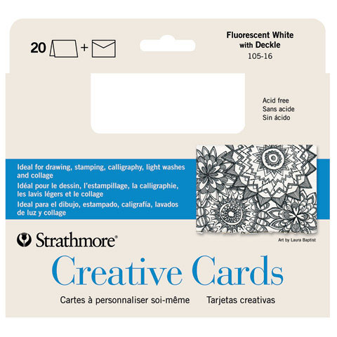 Strathmore 5 x 6.875 Ivory/Deckle Creative Cards 50-Pack