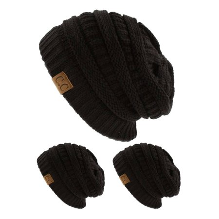 c7a0bf4d CC Slouch Thick Knit Beanie, Dark Melange Grey ( 3 pack ) - image 1 ...