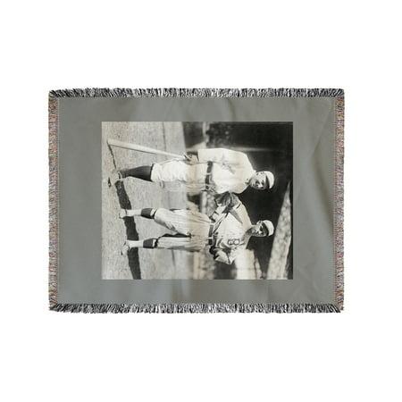 Dover Blanket - Hans Lobert, NY Giants; Joe Schultz Brooklyn Dodgers, Baseball Photo (60x80 Woven Chenille Yarn Blanket)