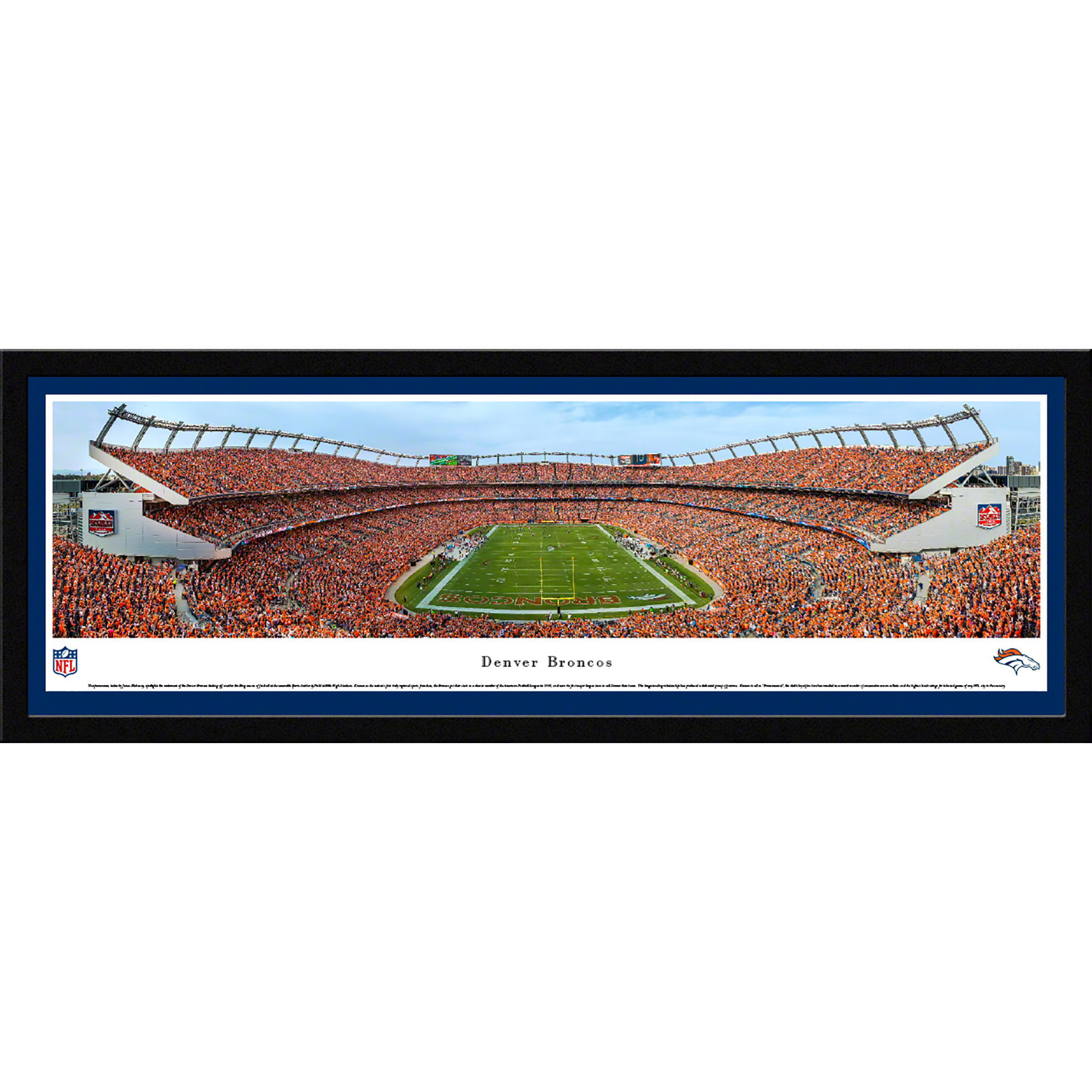 Denver Broncos - End Zone During A Night Game - Blakeway Panoramas NFL Print with Select Frame and Single Mat