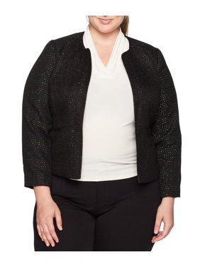 NINE WEST Womens Black Sequined  Tweed Wear To Work Jacket  Size: 14W