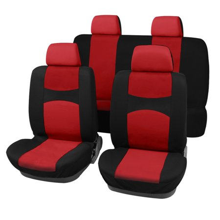 Red Black Full Set Car Seat Covers W 4 Headrests For Auto